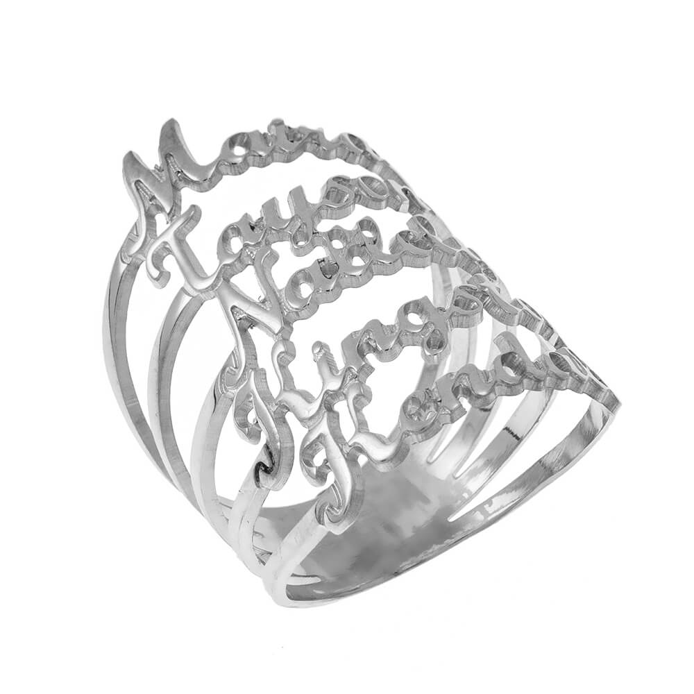 Cut Out Nombres 5 Ring silver