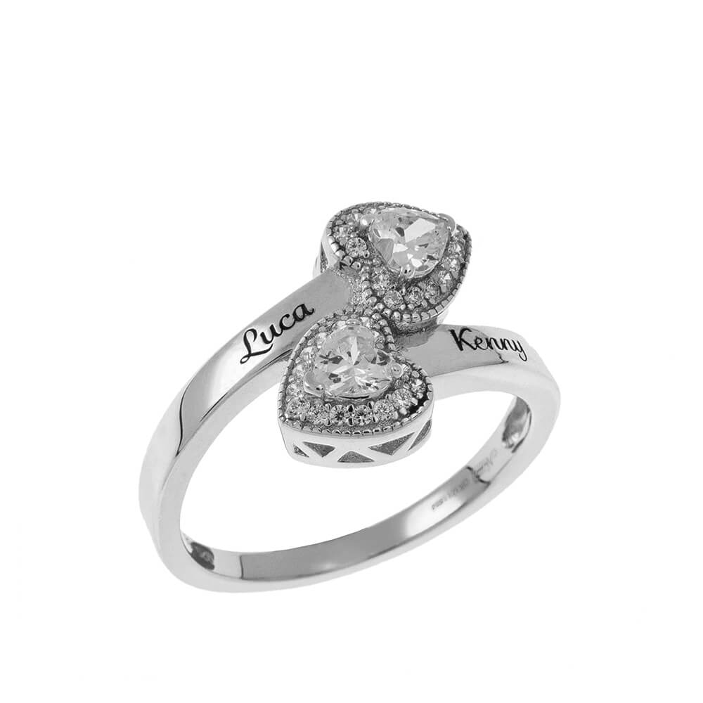 Double Inlay Corazón Ring silver