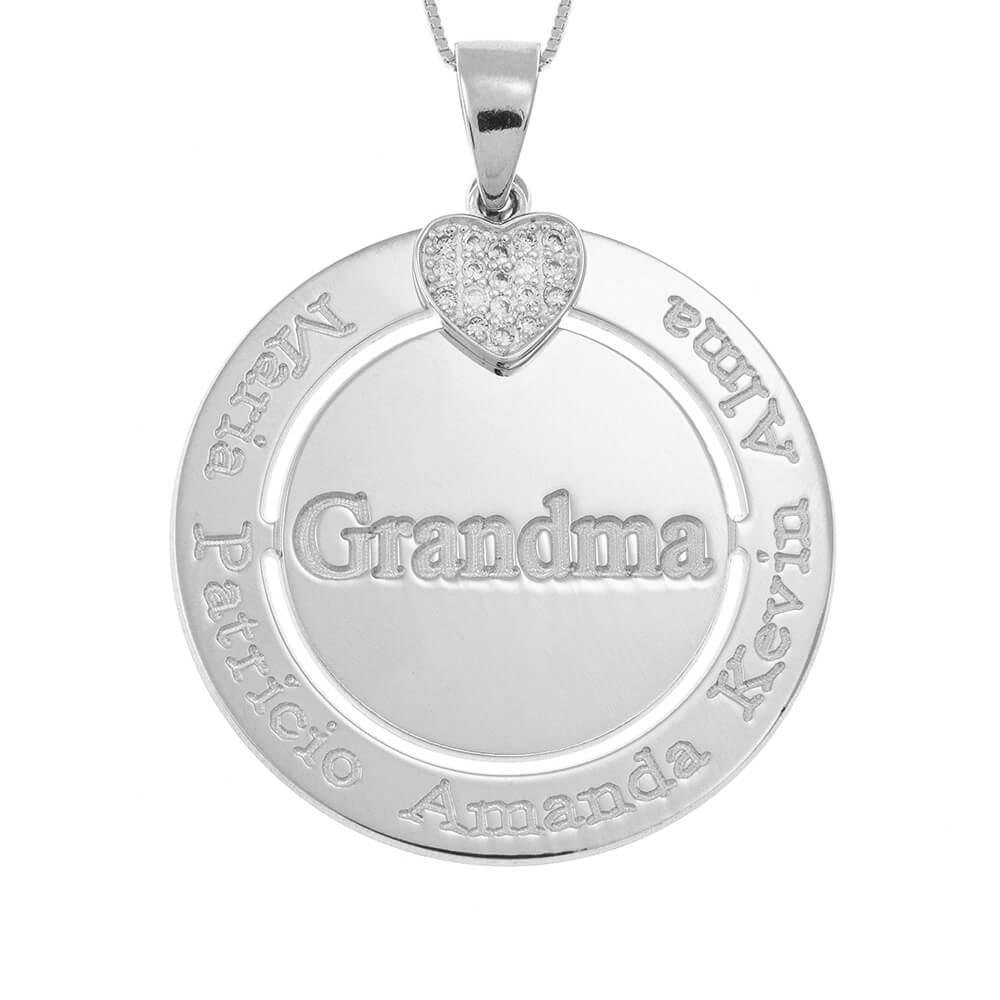 Engraved Circle Grandma Collar with Inlay Corazón silver