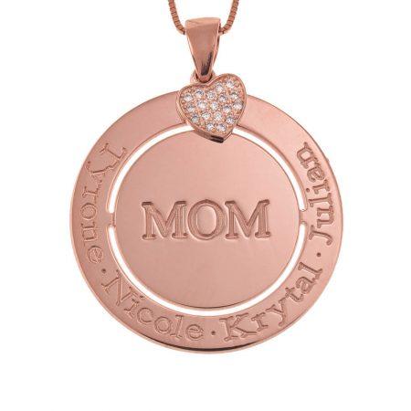 Collar para mamá con círculo grabado y dije de corazón