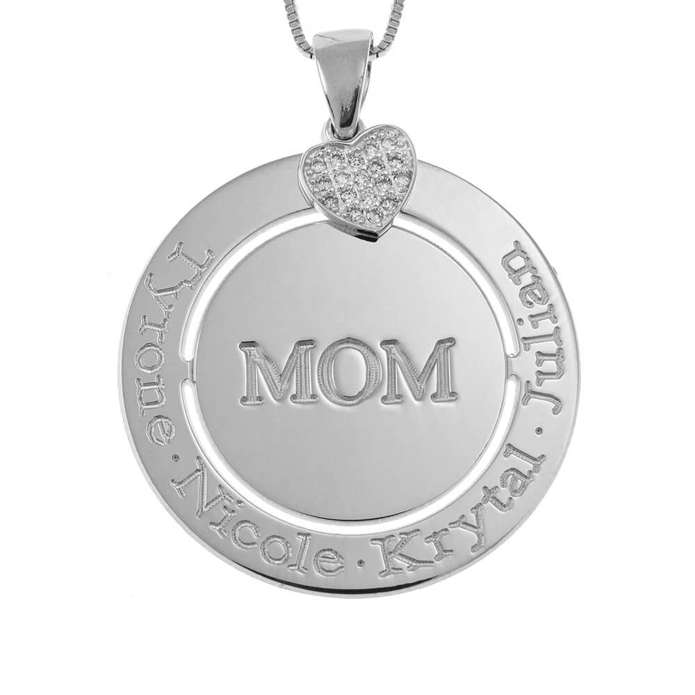 Engraved Circle Mom Collar with Inlay Corazón silver