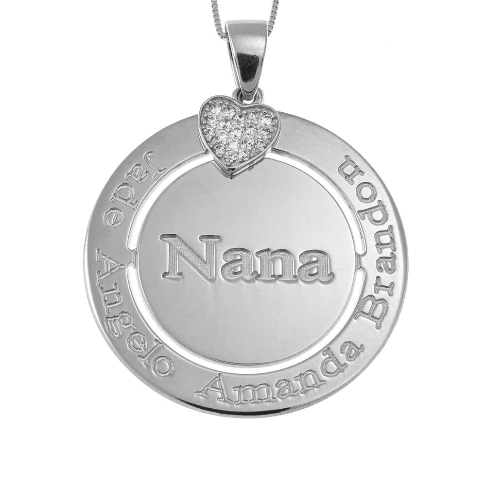 Engraved Circle Nana Collar with Inlay Corazón silver