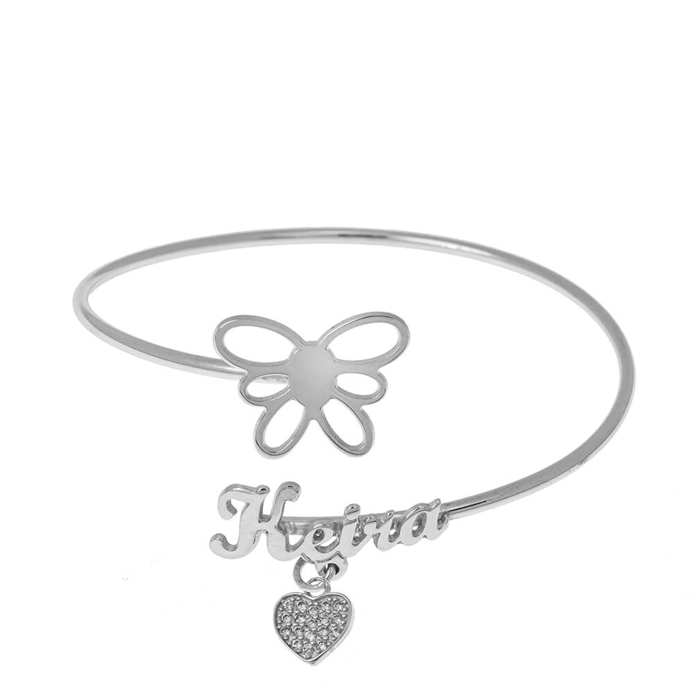 Flex Nombre Pulsera With Butterfly silver