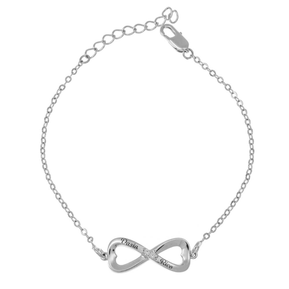 Inlay Infinity Pulsera silver