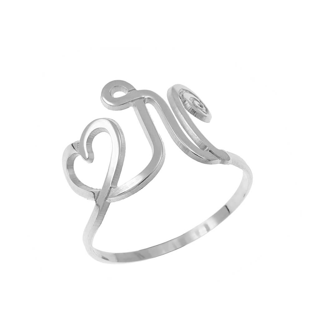 Interlocking Corazón and Initial Ring silver