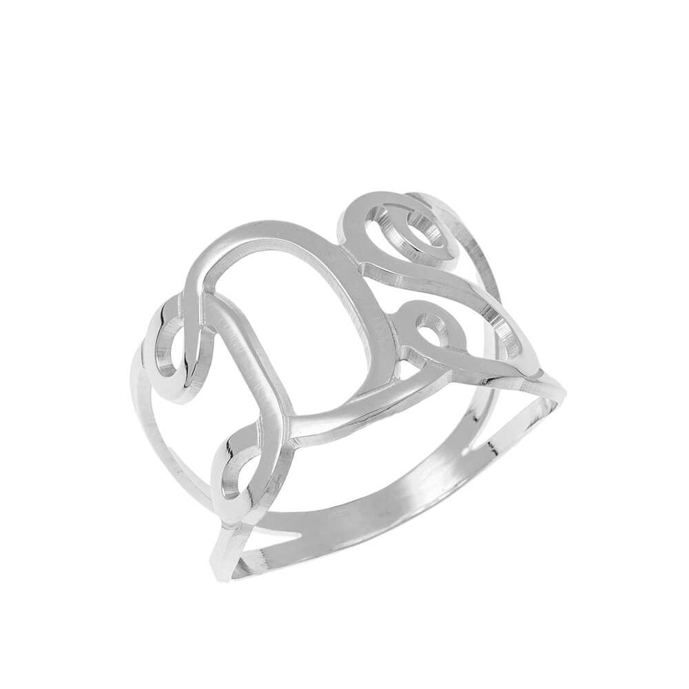 Interlocking Iniciales Ring silver
