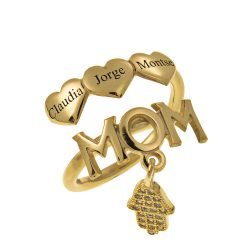 MOM Nombres Ring With CORAZONES gold