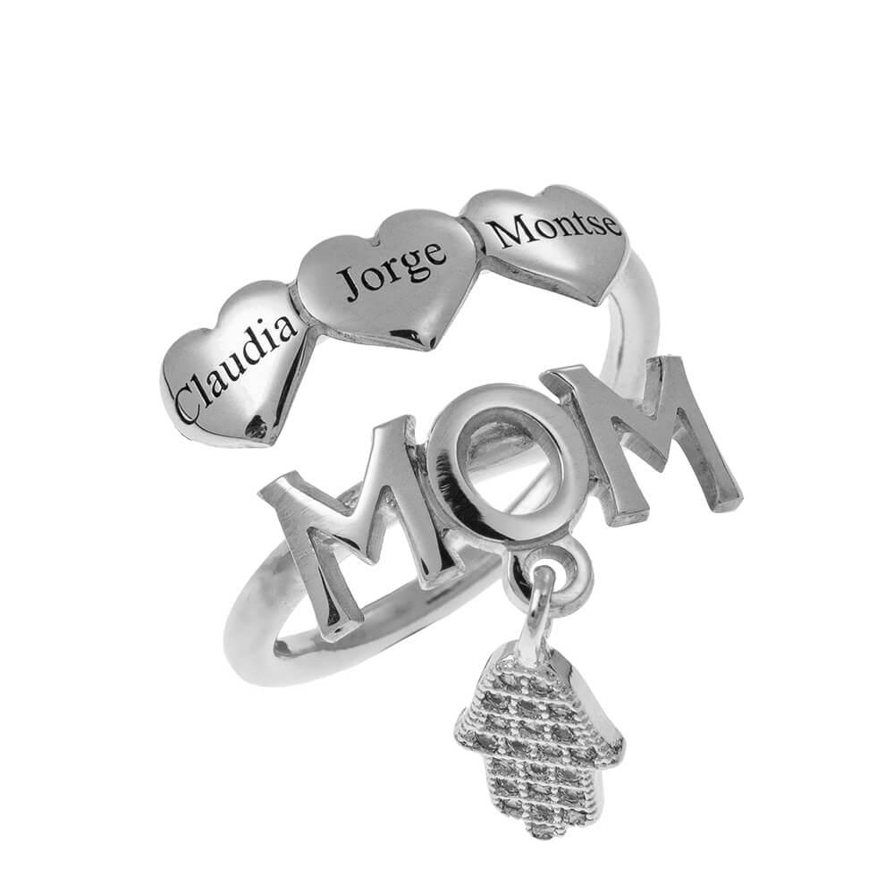 MOM Nombres Ring With CORAZONES silver