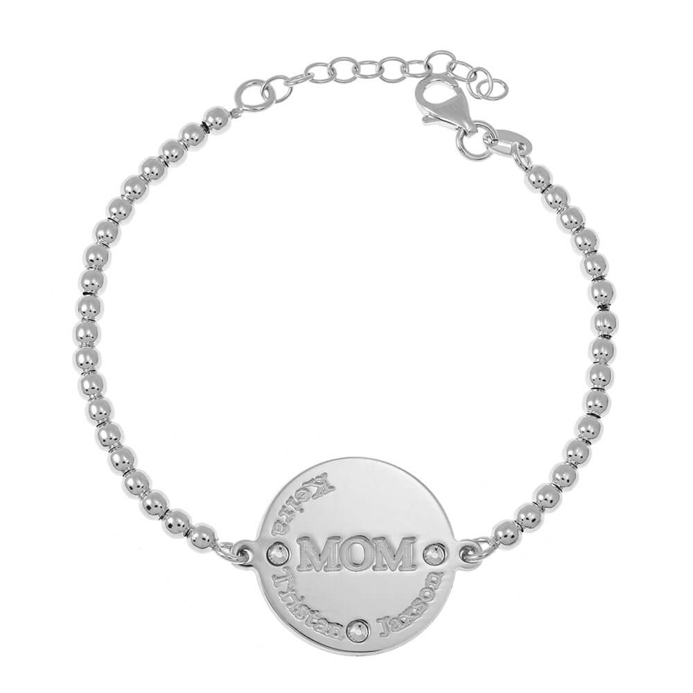 MoM Disco Bead Nombres Pulsera silver
