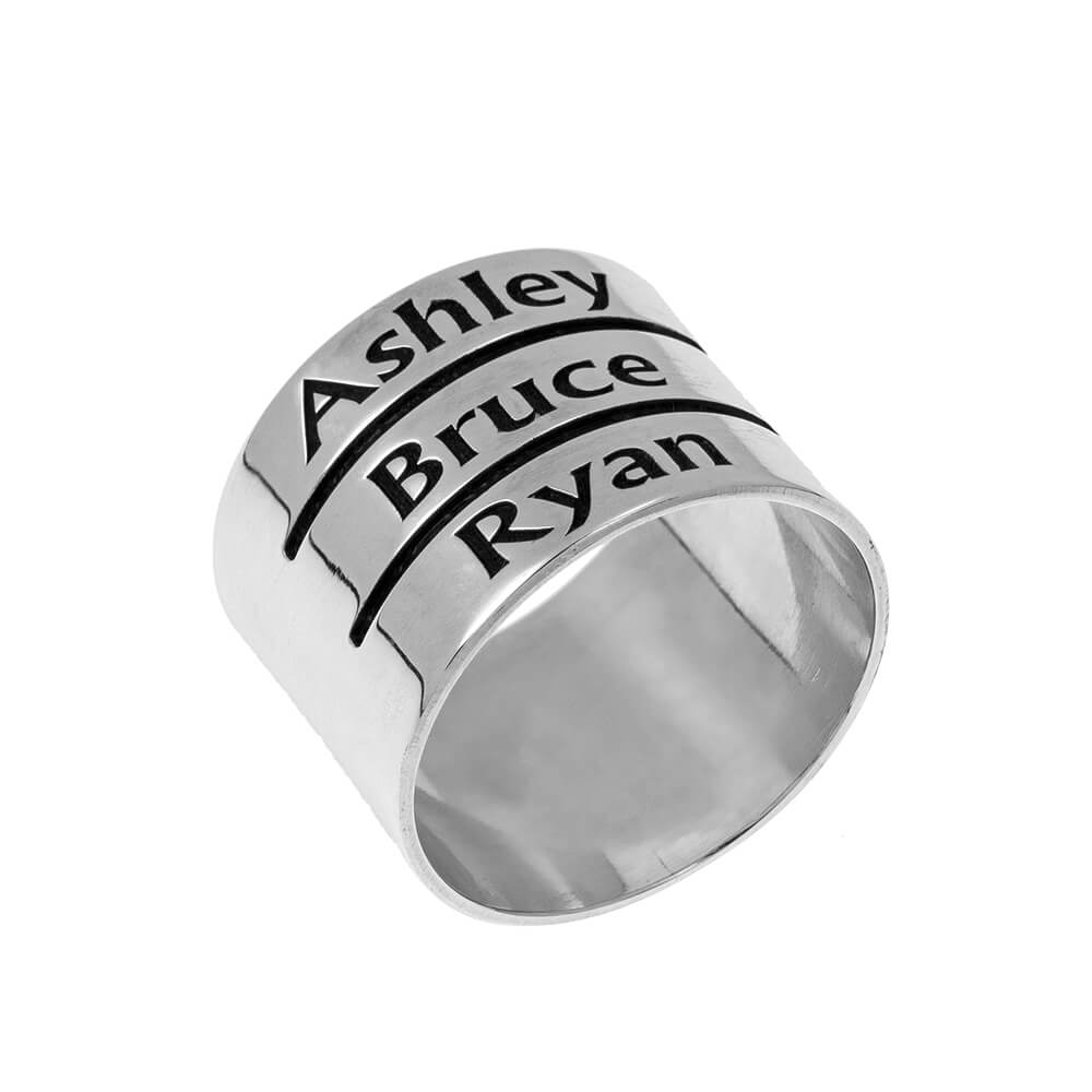 Mother's Engraved Three Nombres Ring silver