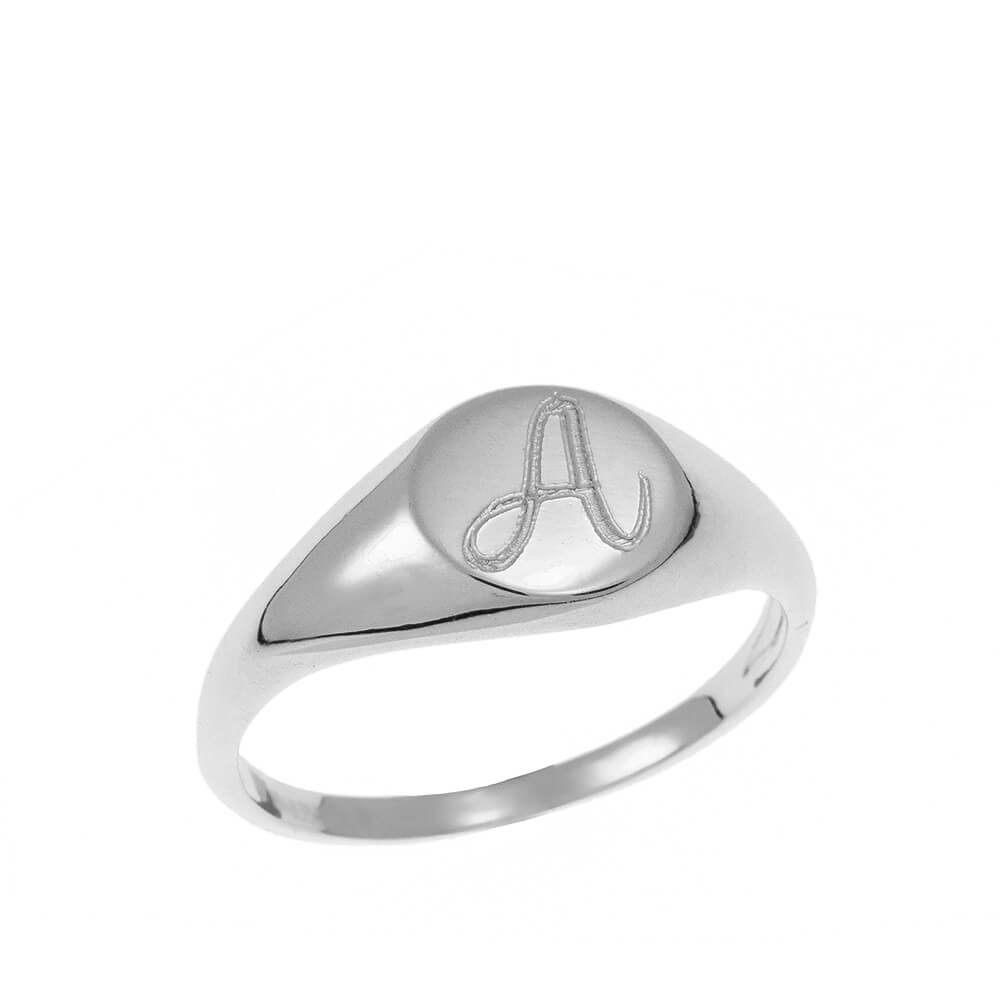Oval Signet Initial Ring silver