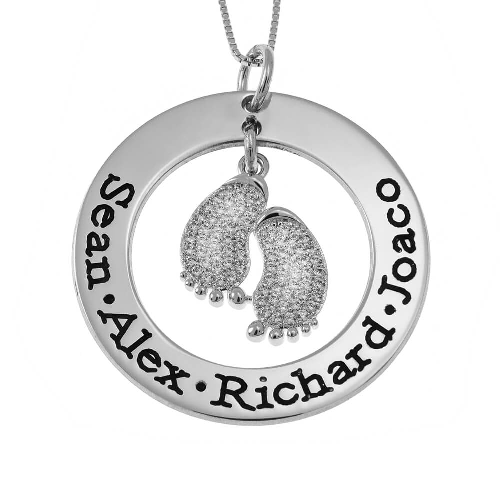 Round Mother Collar With Inlay Baby Pies silver