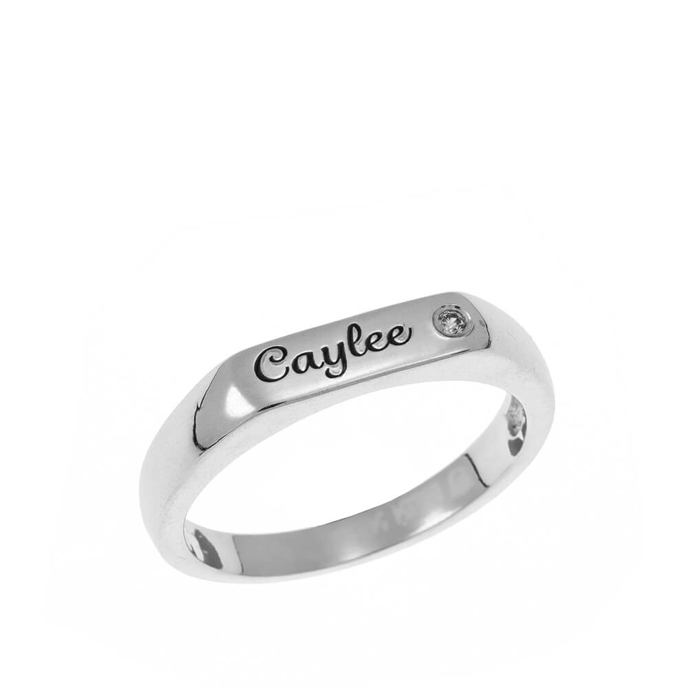 Stackable Inlay Nombre Ring silver