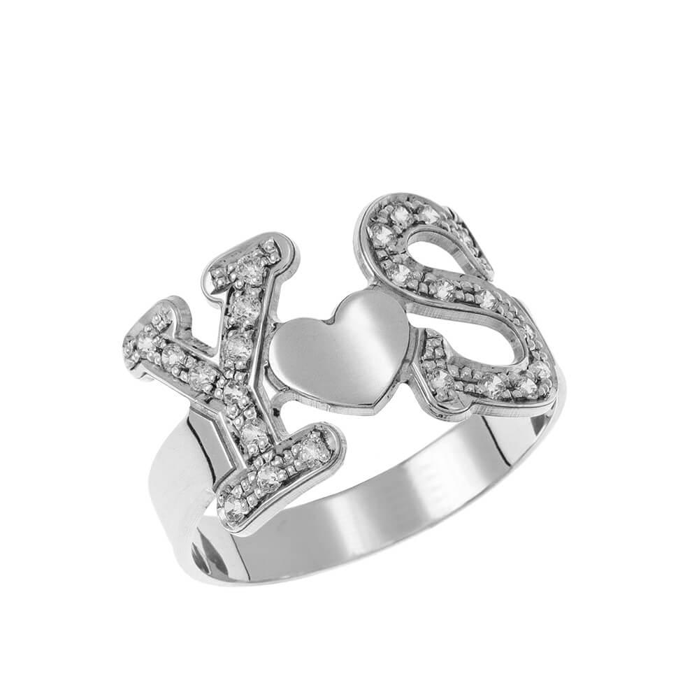 Two Iniciales Corazón Ring silver