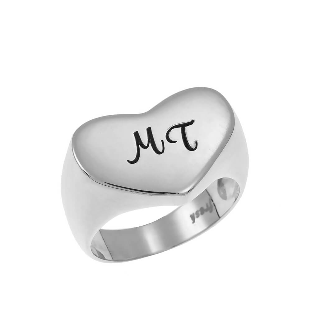 Two Iniciales Corazón Signet Ring silver