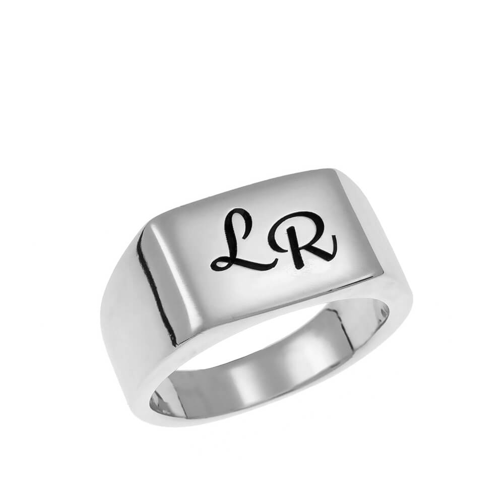Two Iniciales Signet Ring silver