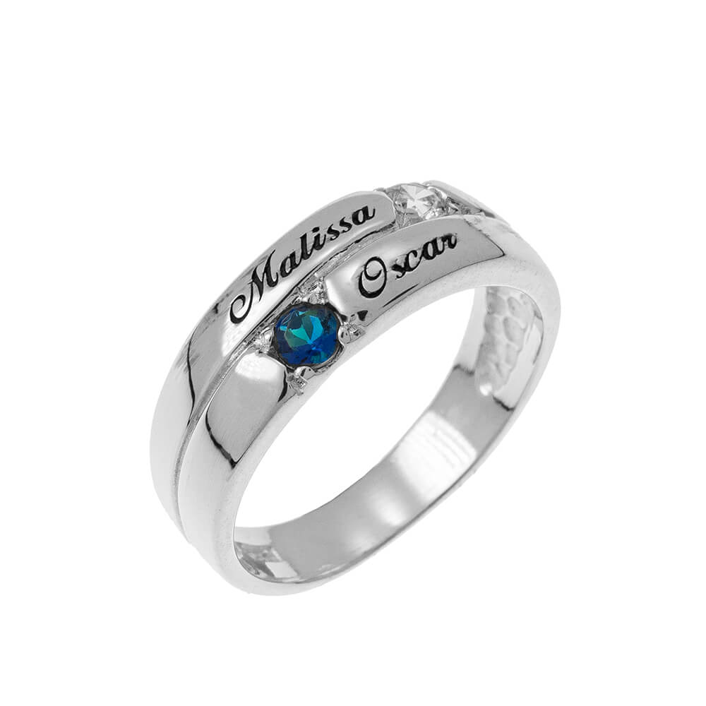 2 piedras Mother Ring silver