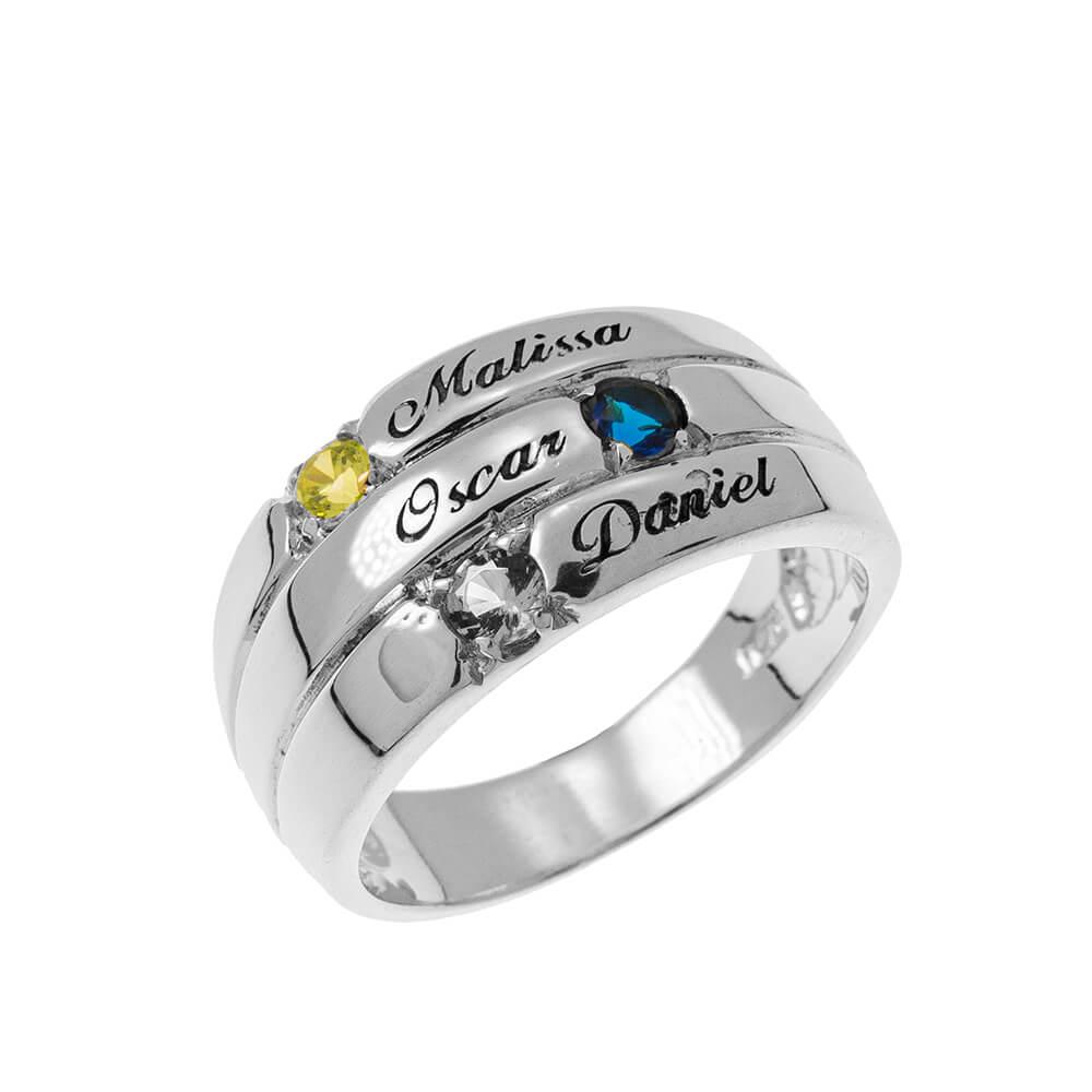 3 piedras Mother Ring silver