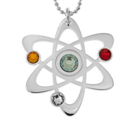 Collar con átomo y piedras de nacimiento