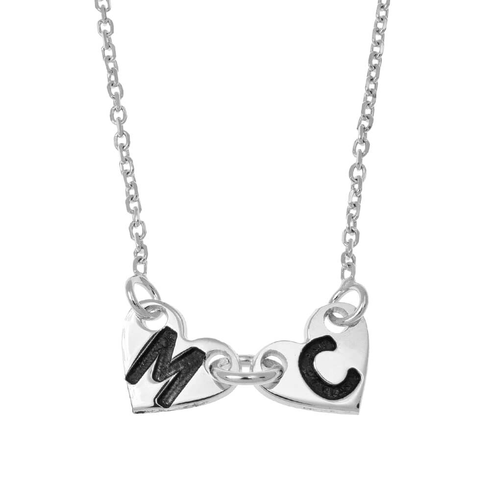 Attached Forever CORAZONES Collar silver