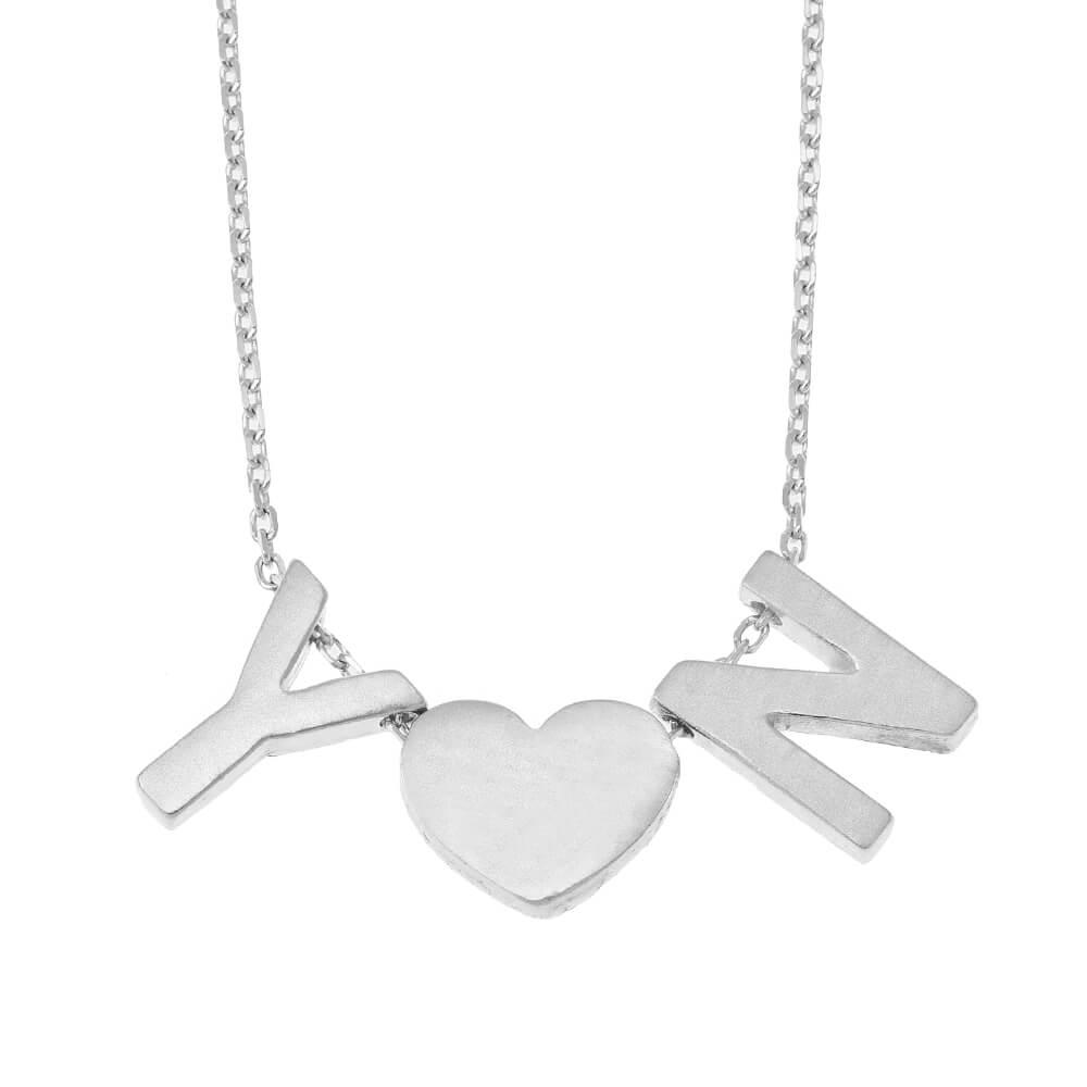 Chunky Iniciales Corazón Collar silver