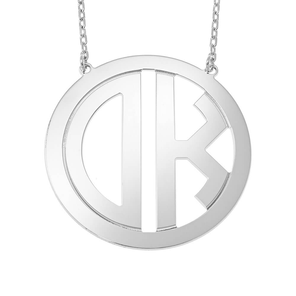 Circle Block Monogram Collar silver