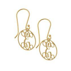 Circle Dangle Monogrammed Aretes gold