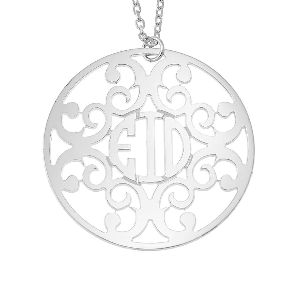 Circle Decorated Monogram Collar silver