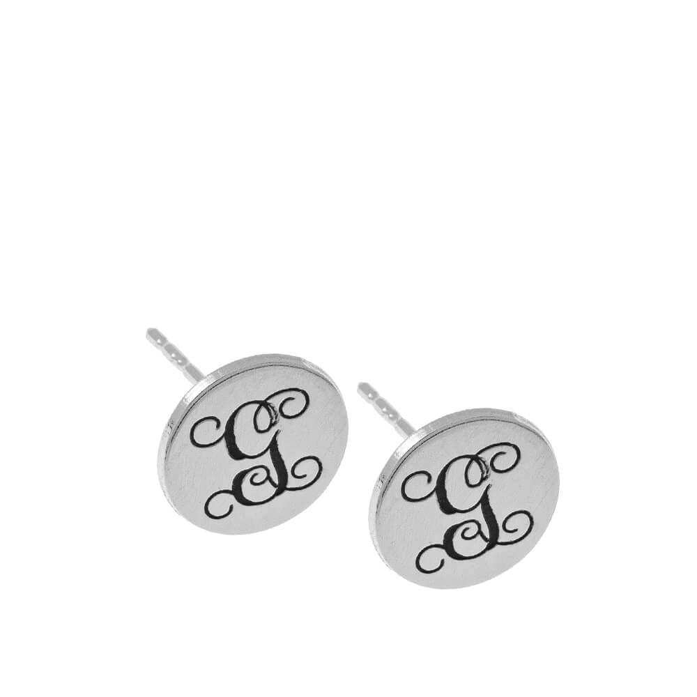 Circle Monogram Stud Aretes silver