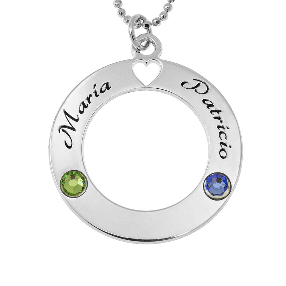 Circle of Love Collar with Birthstones silver