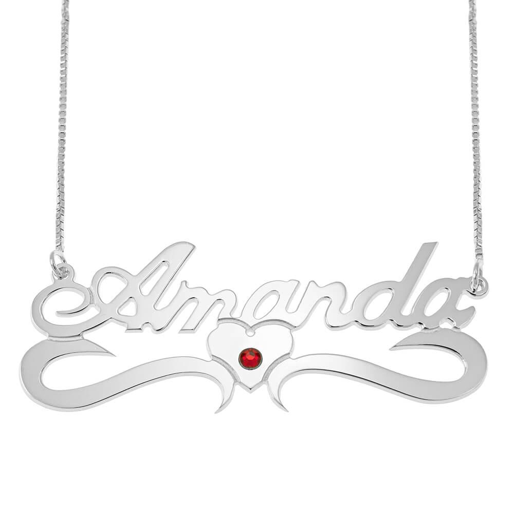 Clásico Middle Corazón Caja Nombre Collar With Birthstone silver