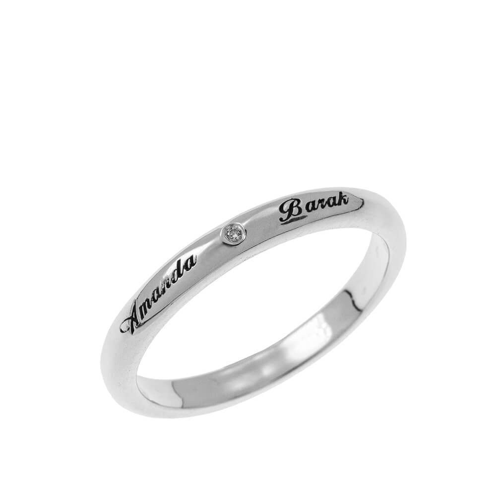 Clásico Promise Ring with Grabado silver