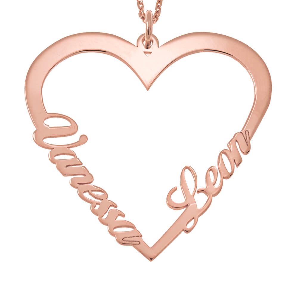 Couple Corazón Nombre Collar rose gold