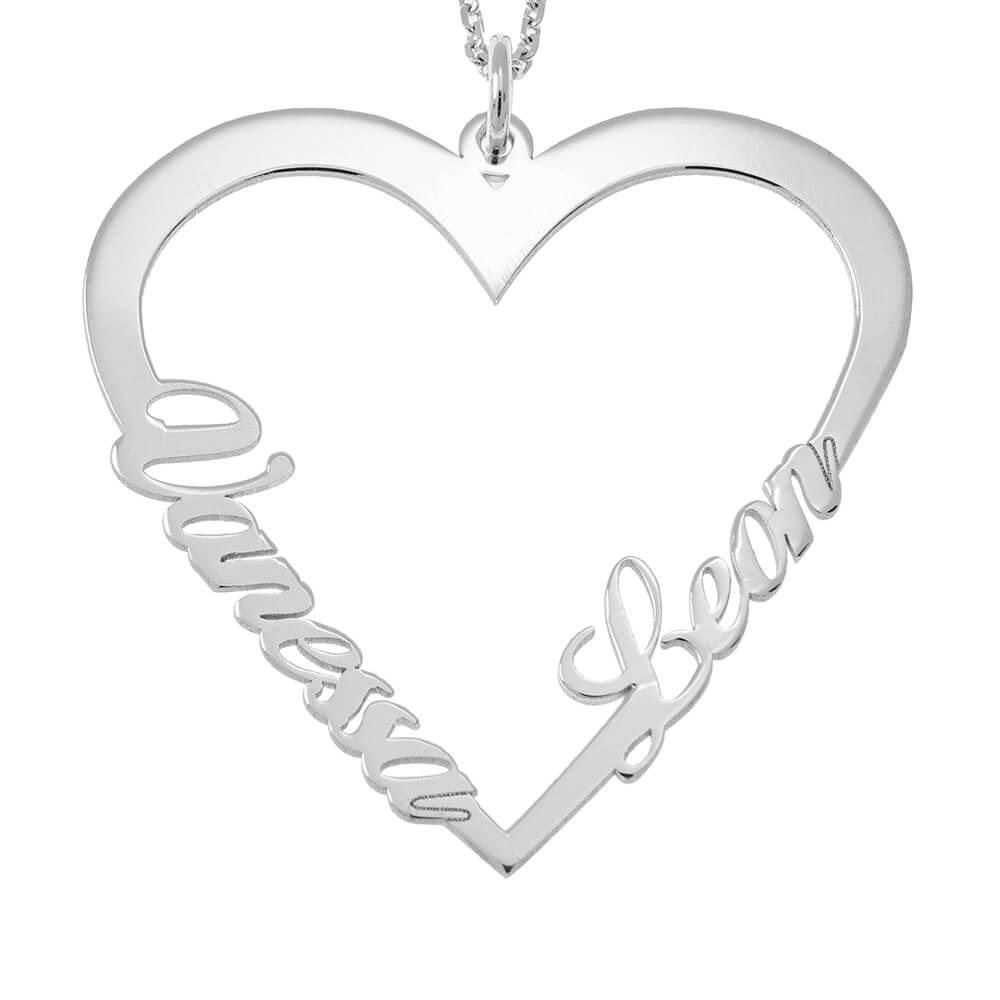 Couple Corazón Nombre Collar silver