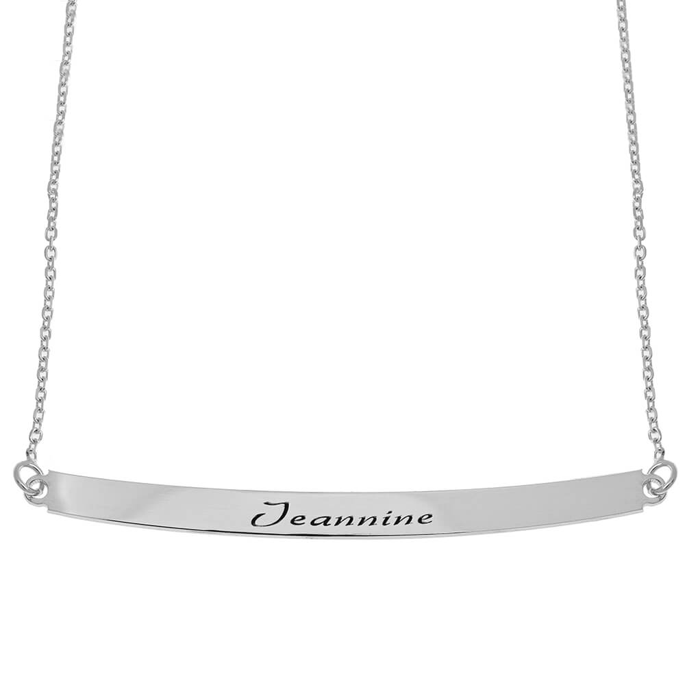 Curved Nombre Plate Collar silver