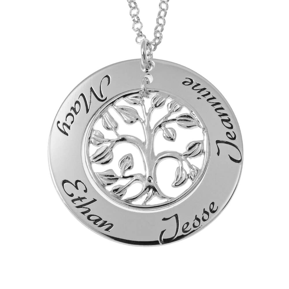 Cut Out Family Tree Nombres Collar silver