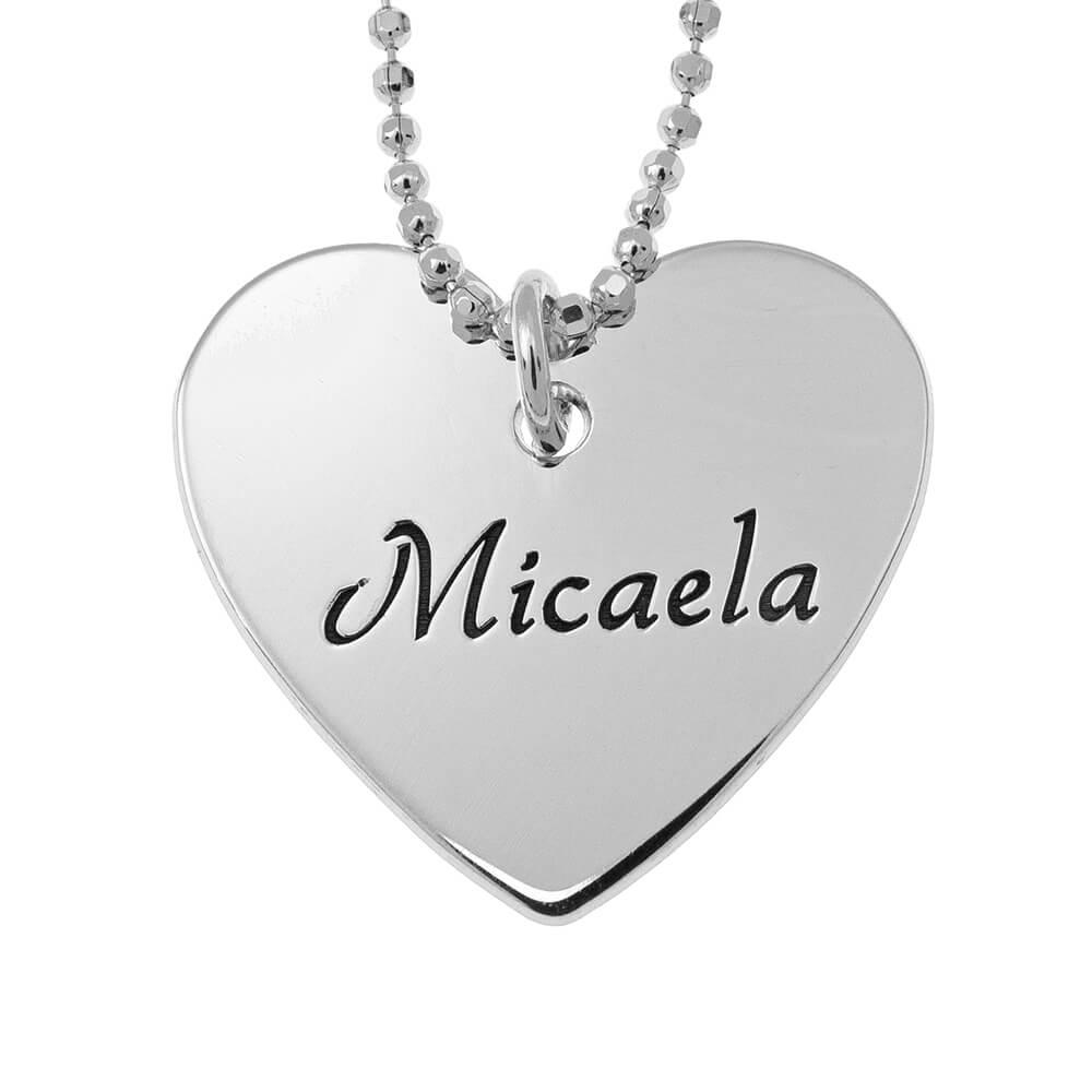 Dainty Corazón Nombre Collar silver