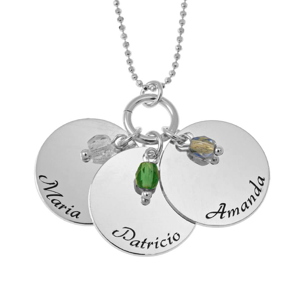 Elegant Three Discoos with Birthstone DIJES Collar silver