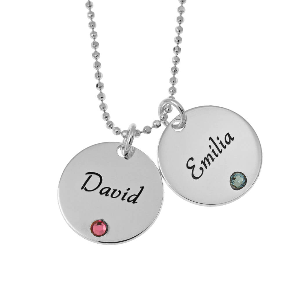 Elegant Two Discoos with Birthstones Collar silver