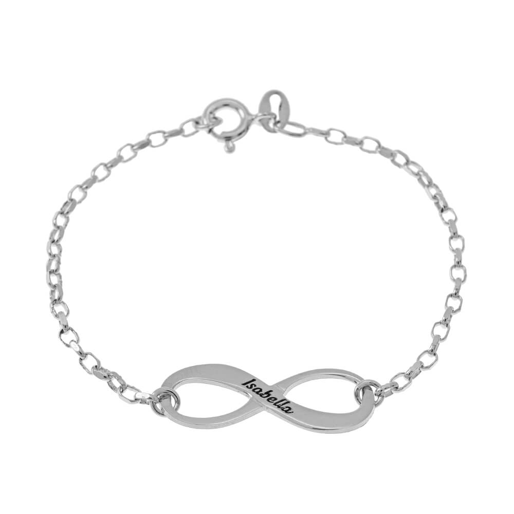 Engraved infinity Pulsera silver