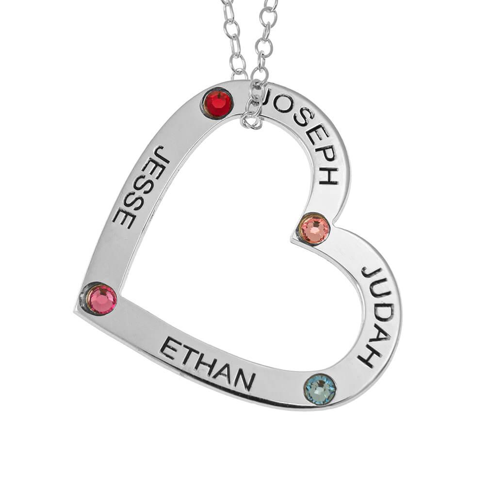 Family Corazón Pendiente with Nombres and Birthstones silver