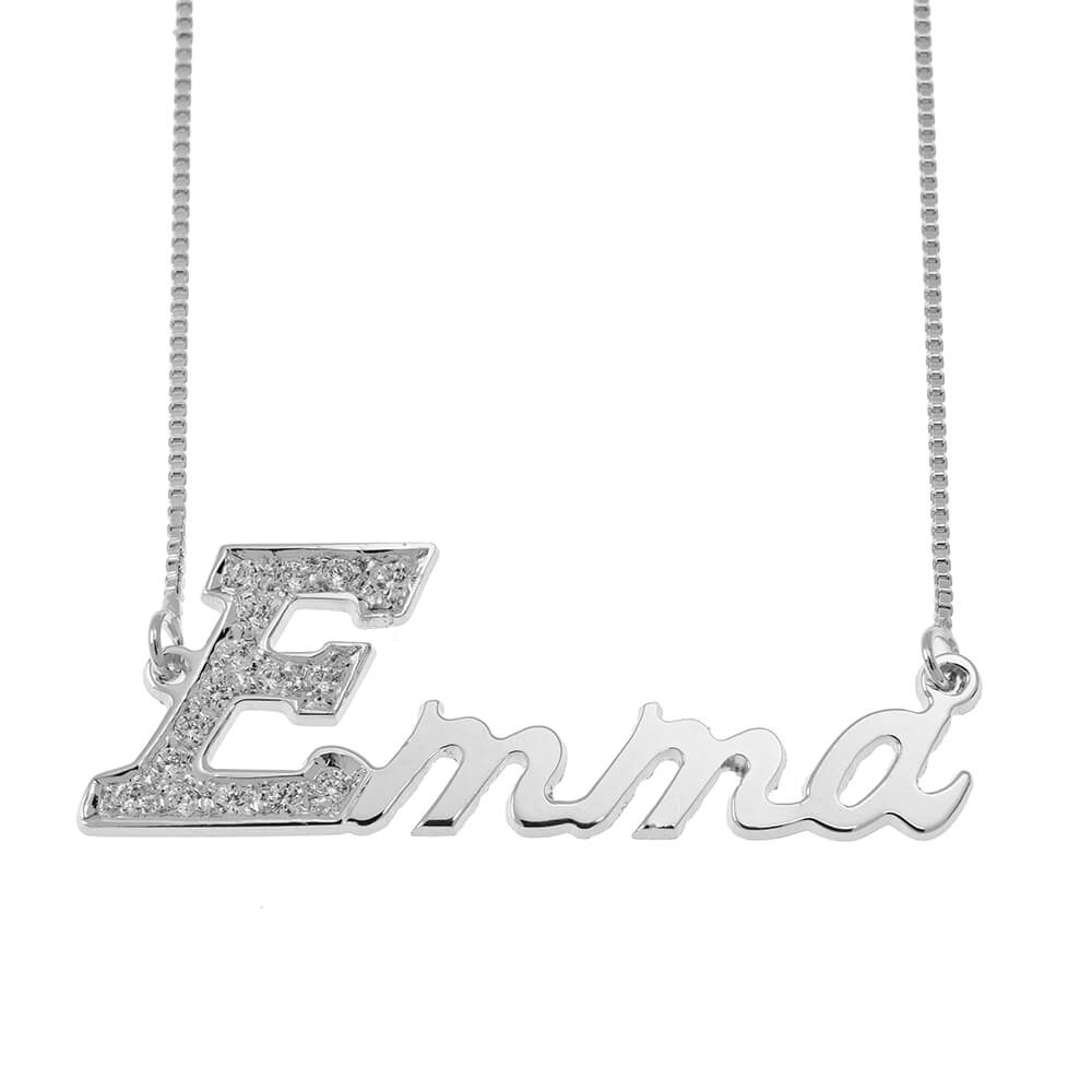 First Letter Nombre Collar with Swarovski silver