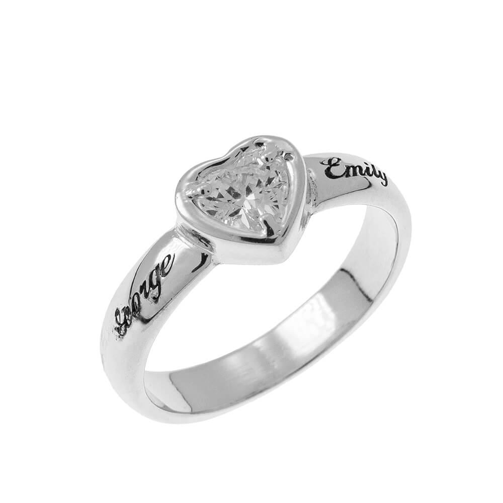Gemstone Corazón Promise Ring with Grabado silver