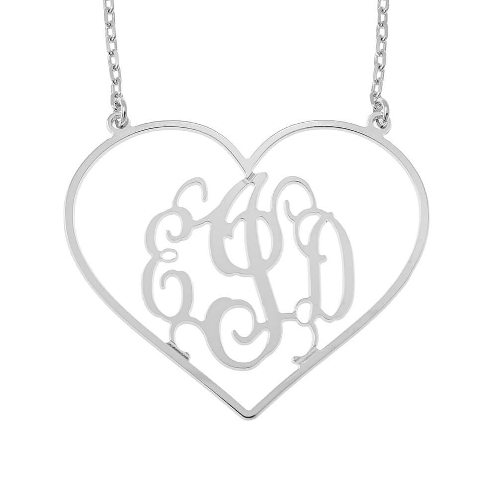 Corazón Shape Monogram Collar silver