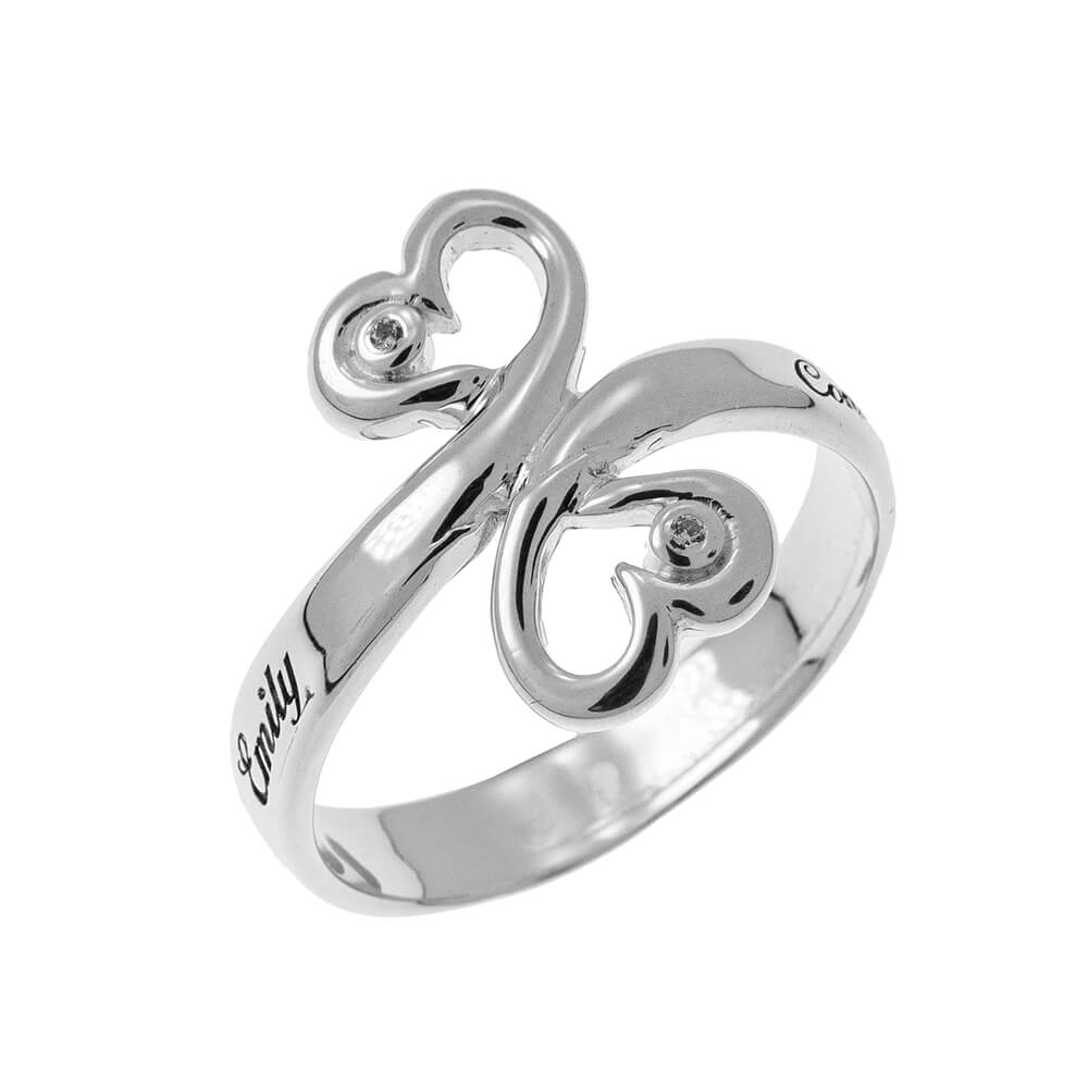 Corazón to Corazón Promise Ring with Birthstones silver 1