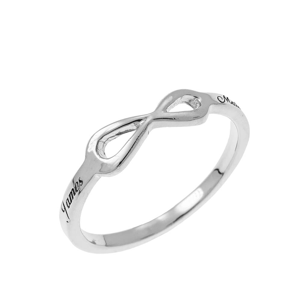 Infinity Love Ring with Grabado silver
