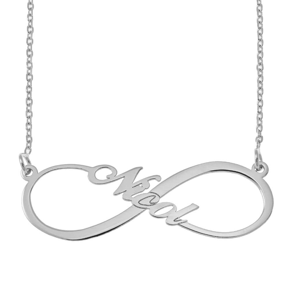 Infinity Estilo Nombre Collar silver