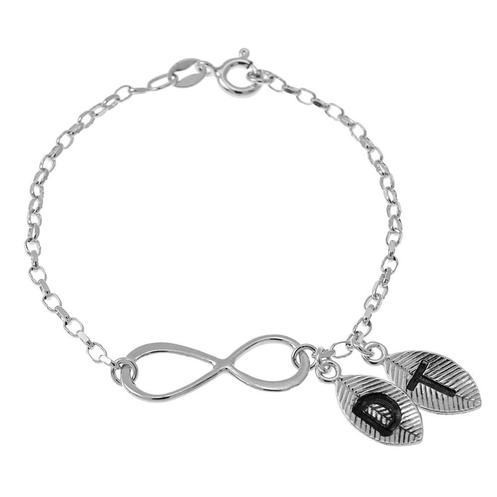 Infinity and Leaves Pulsera silver