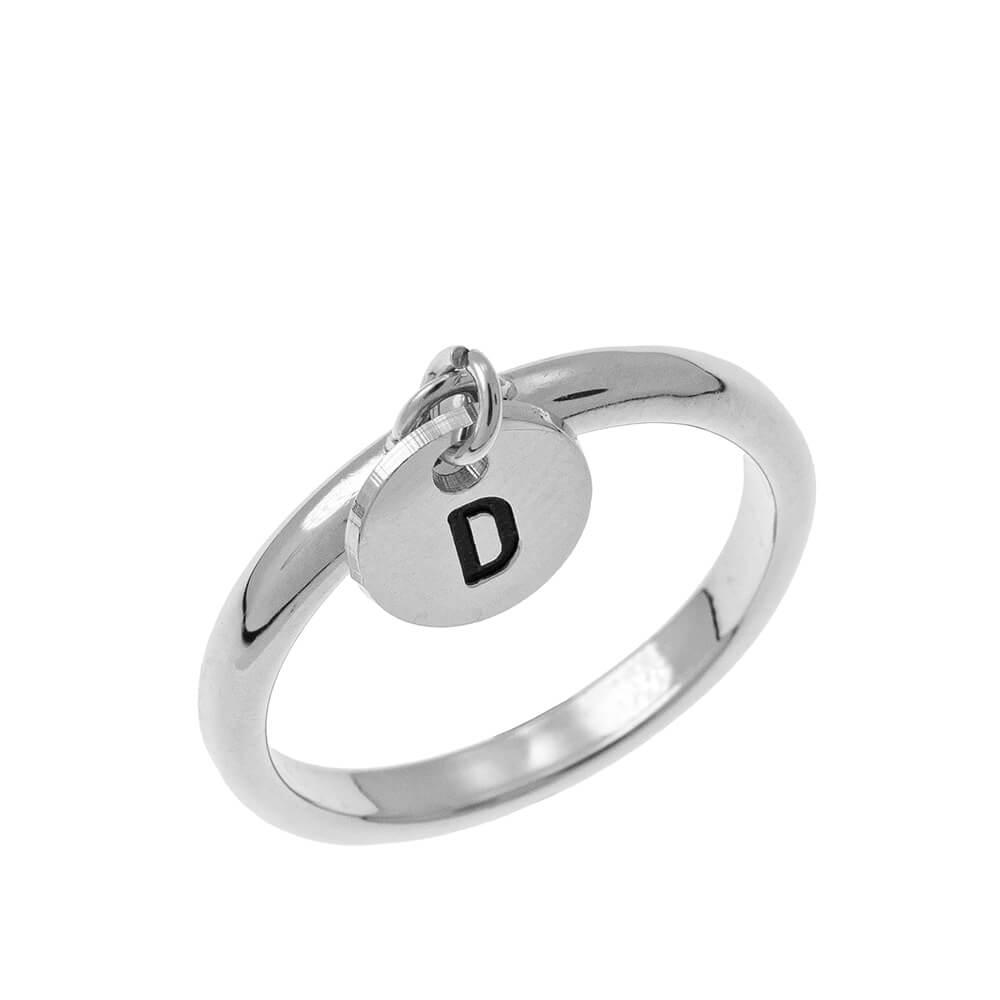 Initial Disco Dije Ring silver
