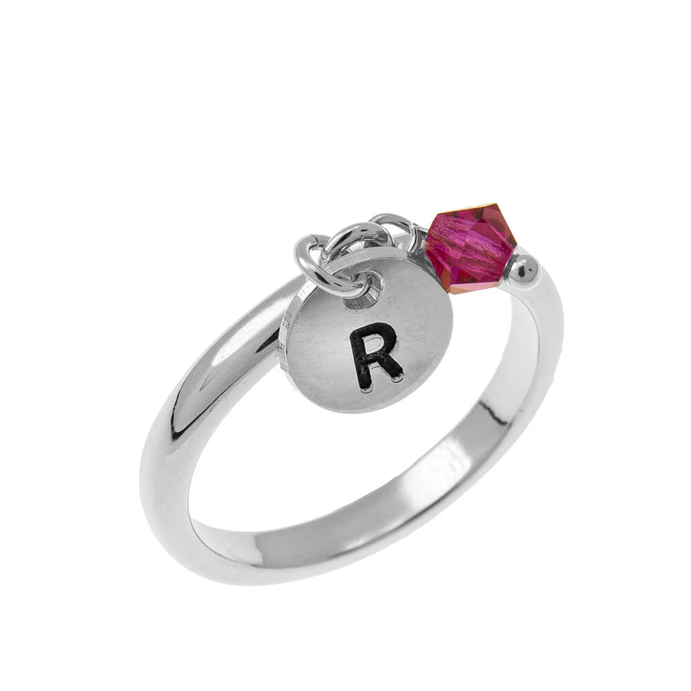 Initial Disco Dije Ring with Birthstone silver